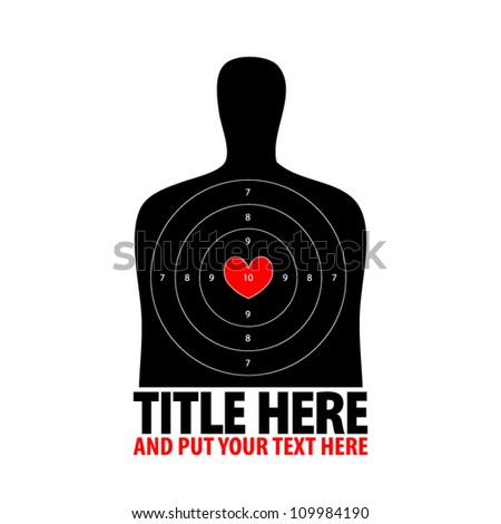 vector illustration of black human shooting target with valentine heart main point on white background - stock vector