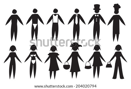 Vector illustration of black icon men and women in different outfit for different roles and professions. - stock vector