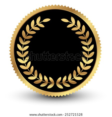 Vector illustration of black medal with gold laurels - stock vector