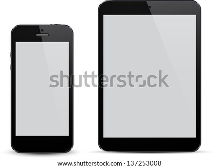 Vector illustration of black modern realistic electronic devices with empty white screen. Eps10. - stock vector