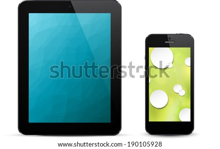 Vector illustration of black modern realistic electronic devices with empty white screen. Eps10.