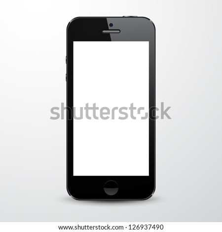 Vector illustration of black modern realistic smartphone with empty white screen. Eps10. - stock vector