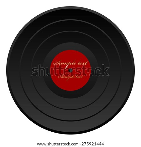 Vector illustration of Black plate with gold text. Retro. - stock vector