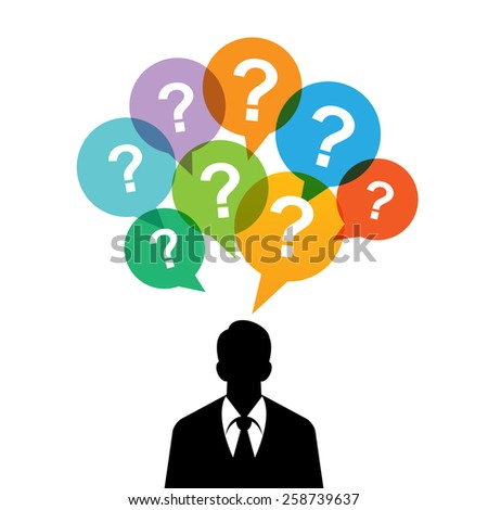 Vector illustration of black silhouette of a man with question mark talk bubbles.