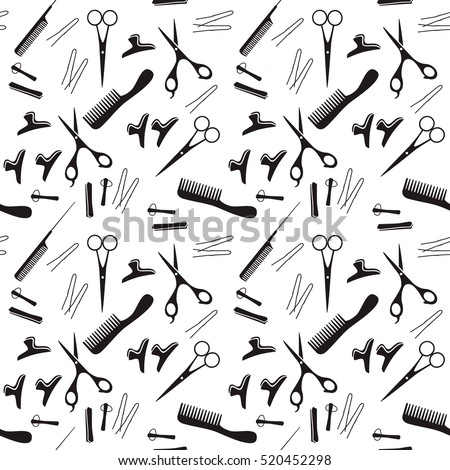 Vector illustration of black silhouettes hairdressing tools. Pattern for a beauty salon.