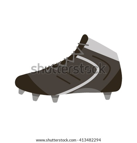 Vector illustration of black soccer shoes, american football boots icon flat vector illustration isolated on white background