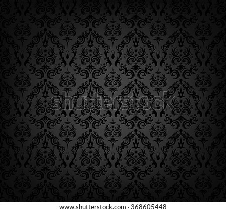 Vector illustration of black wallpaper seamless pattern - stock vector
