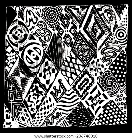 Vector illustration of black & white abstract tribal like drawing. Hand drawn illustration. - stock vector