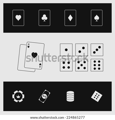 Vector illustration of black-white casino elements. Including four playing cards, six dices and gambling chips.