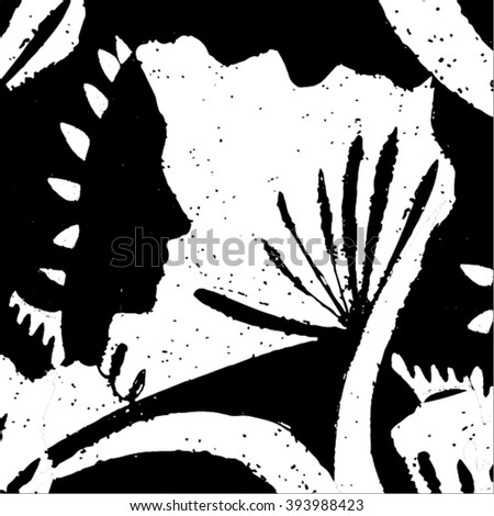 Vector illustration of black & white hand drawn graphic pattern / background. Face, lines, distorted, native grunge image. Doodle.