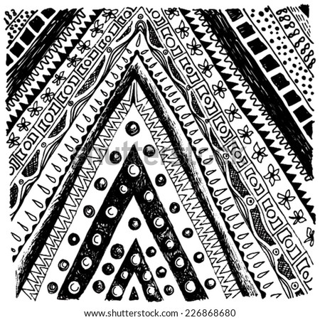 Vector illustration of black & white hand drawn pattern / texture. Triangle, tribal, flowers, dots. - stock vector
