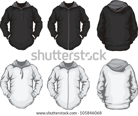 vector illustration of black white men's hoodie sweatshirt template, front and back design, check out my portfolio for different t-shirt templates - stock vector