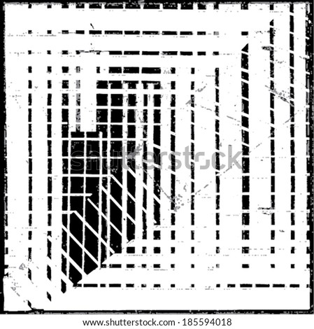 Vector illustration of black & white op art pattern / background. Optical illusion.