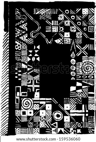 Vector illustration of black & white triangle tribal African background / texture. Abstract hand drawn picture frame / border. - stock vector