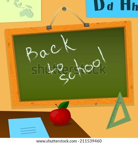 Vector Illustration of Blackboard in Classroom Design, Website, Background. BAck to school  Banner Education student Template - stock vector