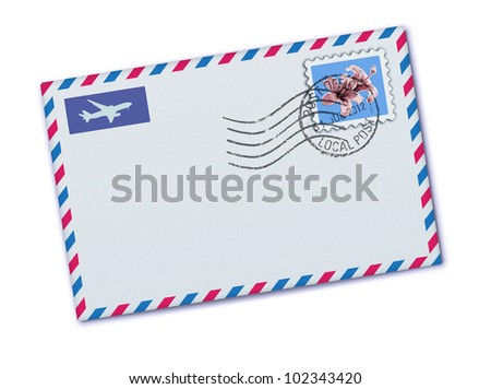 Vector illustration of blank airmail envelope with stamp and rubber stamp - stock vector