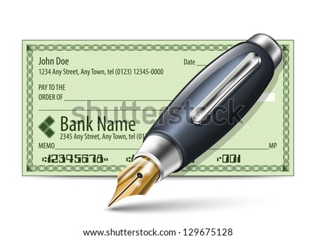 Vector illustration of blank bank check and fountain pen - stock vector