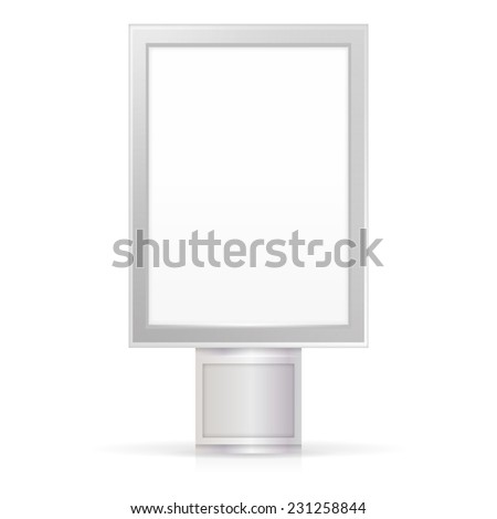 Vector illustration of blank City Light. Blank white vertical city light billboard mock-up with gray frame. Isolated vector illustration on white background. - stock vector