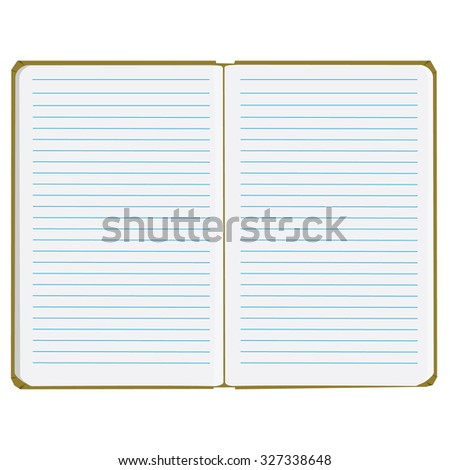 Vector illustration of blank empty notepad, notebook. Opened notebook. Notebook with lined paper - stock vector