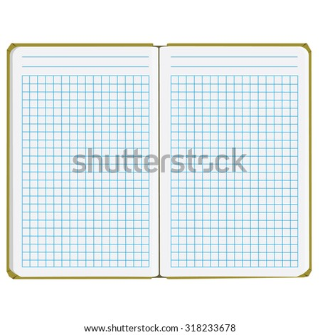 Vector illustration of blank empty  notepad, notebook. Opened notebook. Squared sheet paper - stock vector