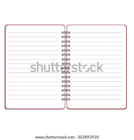 Vector illustration of blank empty spiral notepad, notebook. Opened notebook. Lined notebook - stock vector
