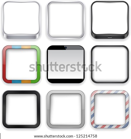 Vector illustration of blank high-detailed apps icon set. Eps10. - stock vector