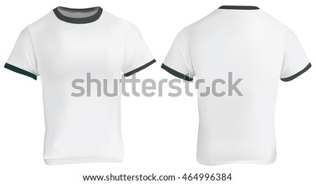 Vector illustration of blank men ringer t-shirt template, white shirt with black collar and sleeve bands, front and back design isolated on white