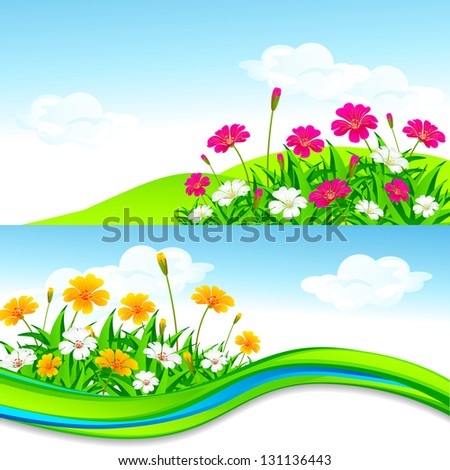 vector illustration of blank nature template with flower and grass