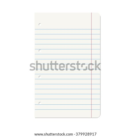Vector illustration of blank notebook lined paper