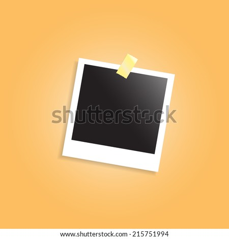 Vector illustration of blank retro photo frame over soft background - stock vector