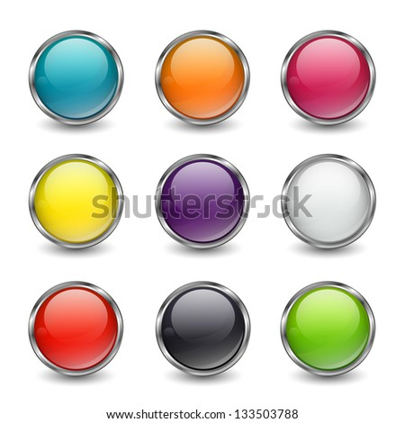 Vector Illustration of Blank Web Buttons for Website or App - stock vector