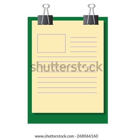 Vector illustration of blank work paper on exam board with binder clips - stock vector