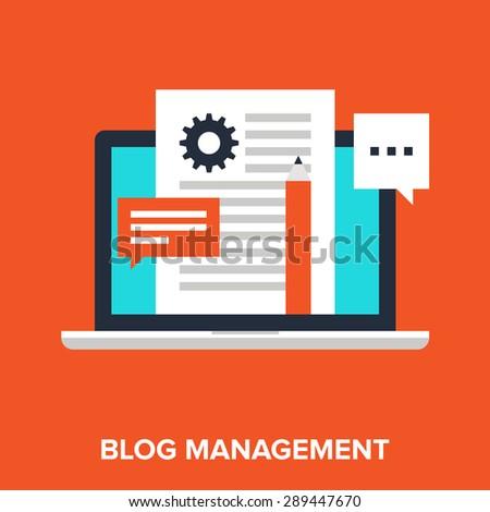 Vector illustration of blogging flat design concept. - stock vector