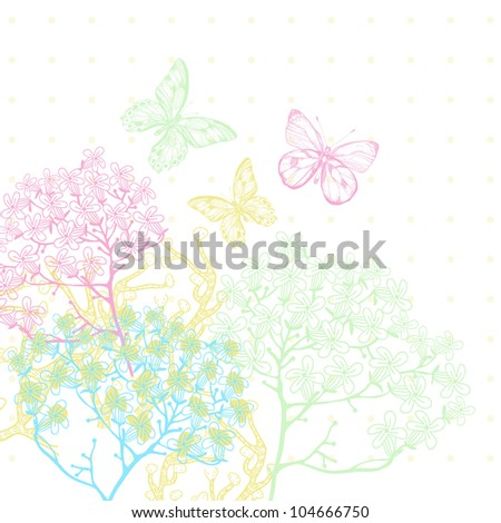 vector illustration of blooming plants and colorful butterflies