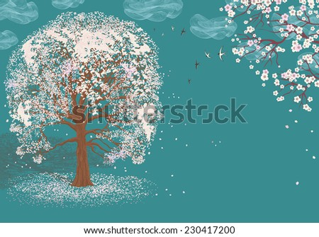 Vector illustration of blooming tree on blue background with abstract clouds - stock vector