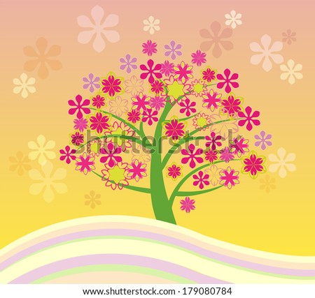 Vector illustration of Blossoming Cherry Tree Abstract Illustrations  - stock vector