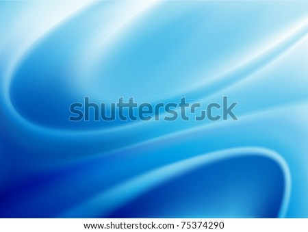 Vector illustration of blue abstract background made of light splashes and curved lines - stock vector