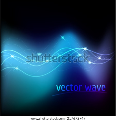 Vector illustration of blue abstract background with blurred neon light curved lines