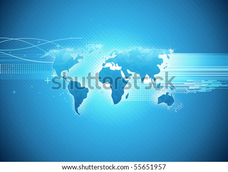 Vector illustration of blue abstract hi-tech Background with Glossy world map - stock vector