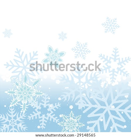 Vector illustration of blue Abstract Winter background with many different falling stylish snowflakes - stock vector