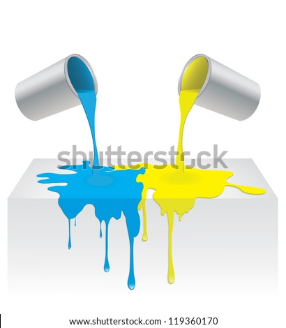 Vector illustration of blue and yellow color paint pouring from a can and dripping into background surface. Isolated on white - stock vector