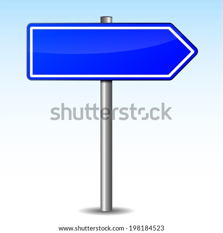 Vector illustration of blue arrow right blank on sky background