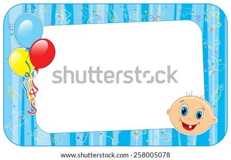 Vector illustration of blue  baby boy frame.  - stock vector