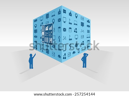 Vector illustration of blue big data cube on grey background. Two persons looking at big data and business intelligence data collected from various information sources like social media and network. - stock vector
