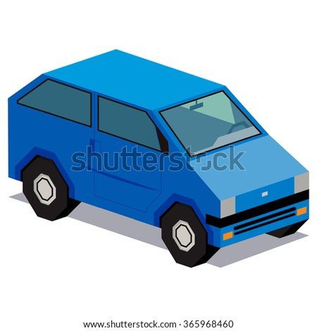 Vector Illustration Of Blue Car Isolated On White Background