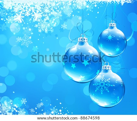 Vector illustration of Blue christmas abstract background with cool snowflakes and Christmas decorations - stock vector