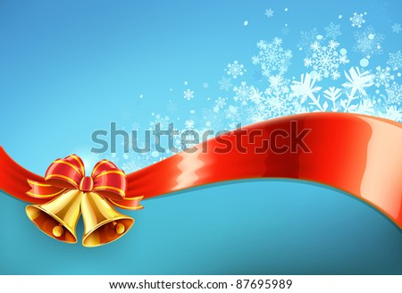 Vector illustration of Blue christmas abstract background with cool snowflakes, red ribbon and two golden bells - stock vector