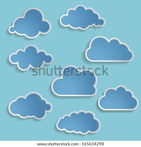 Vector illustration of blue clouds collection
