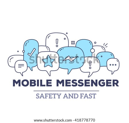 Vector illustration of blue color dialog speech bubbles with icons and text mobile messenger on white background. Safety and fast mobile messenger concept. Thin line art flat design of communication - stock vector