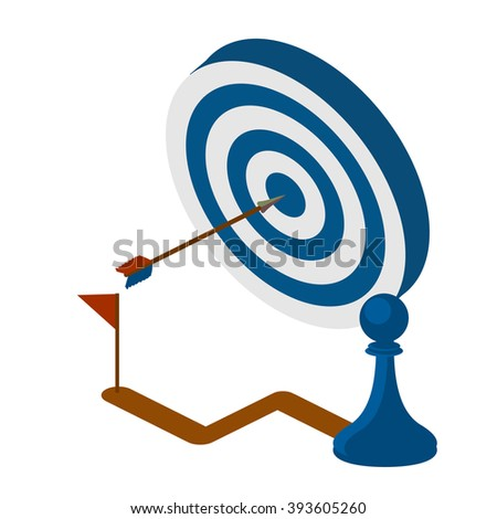 Vector illustration of blue dart hitting in the center of the target dartboard. strategy concept. Isometric vector illustration. - stock vector